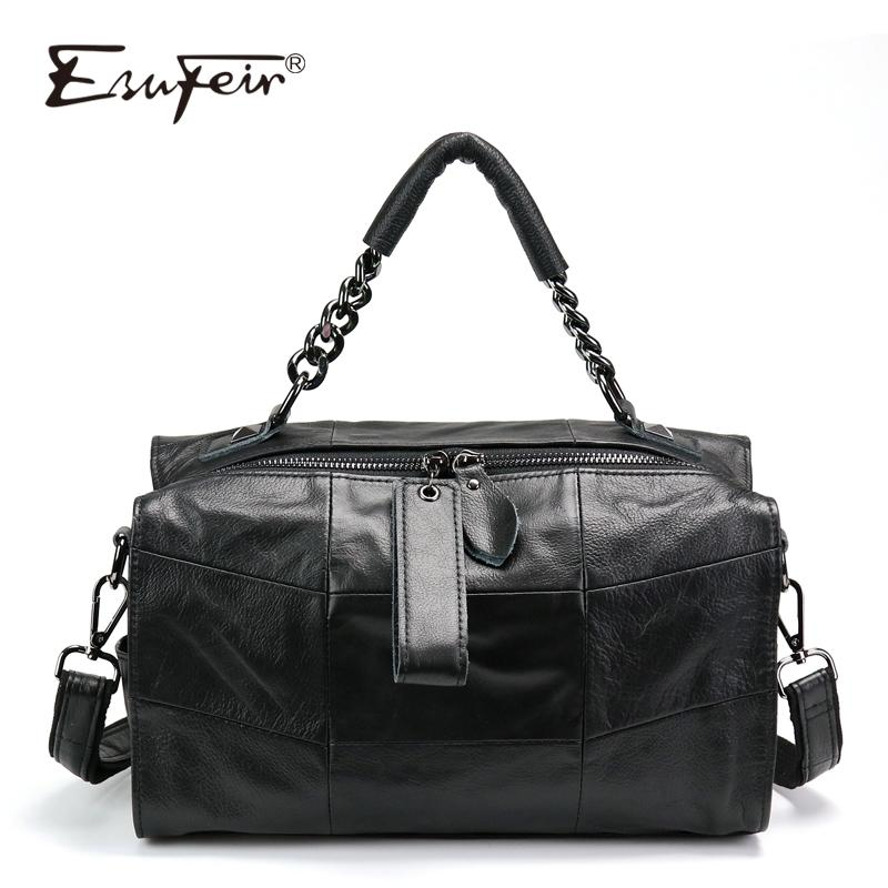 ESUFEIR Genuine Leather Luxury Handbags Women Bags Designer Patchwork Leather  Shoulder Bag Women Messenger Bags Bolsa Feminina Cheap Designer Bags Mens  ... 94a800d4179f1