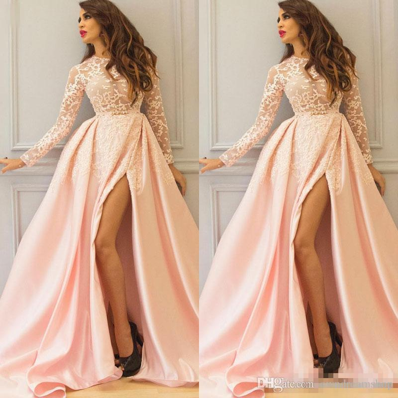 20567dfd13 A Line Long Sleeve Blush Prom Dresses Lace Winter Style Side Split Formal  Evening Gowns With Overskirt Sheer Appliques Fashion Vestidos Shop Prom  Dress Xo ...