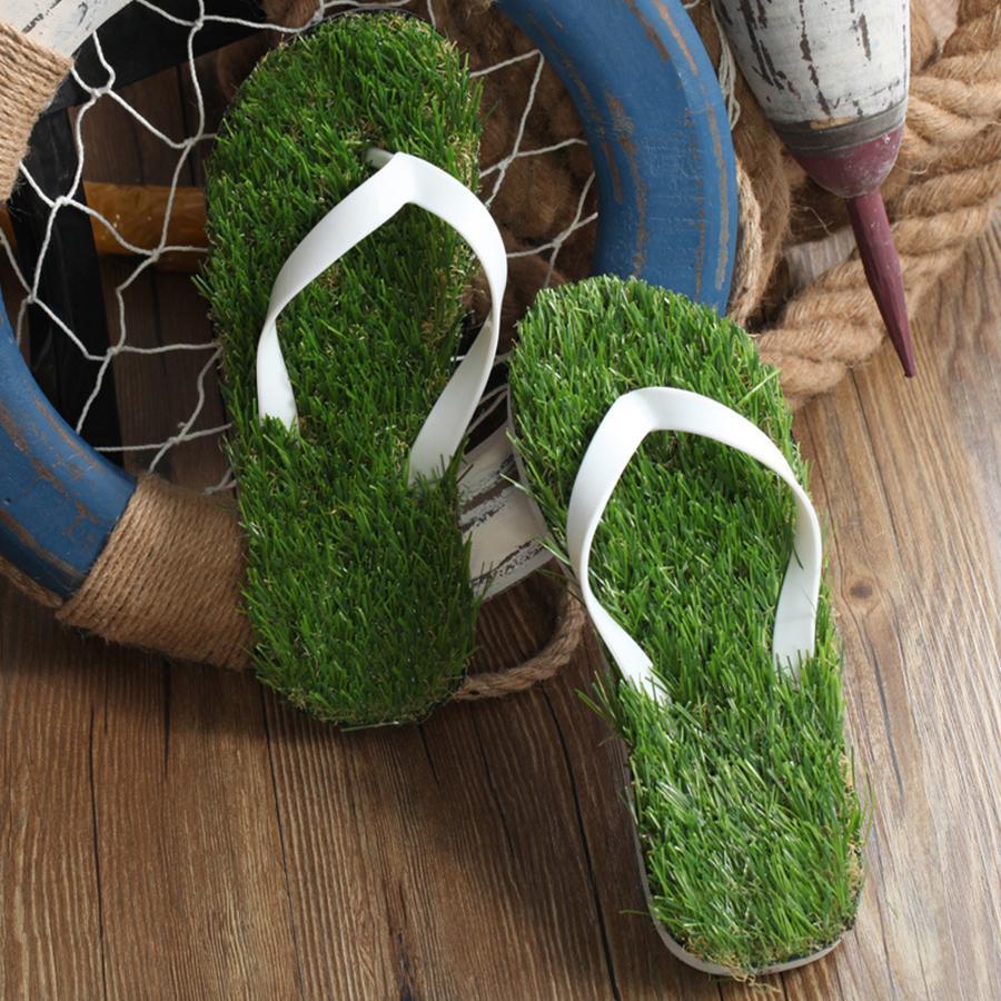 2017 New Women Imitation Grass Flip Flops For Woman Summer Beach Flat Shoe Out Sandals Slipper Ladies Sandalias Mujer Lovers