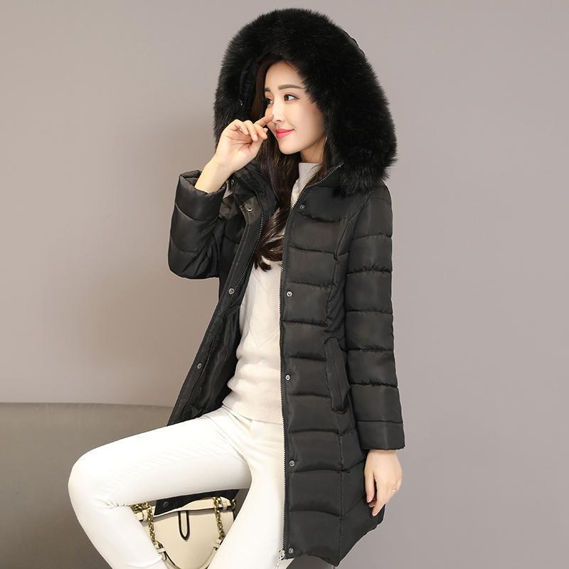 45390c48d01c Acheter 2018 Hiver Capuchon Amovible Doudoune Manteau Femmes Coréenne Longue  Lâche Grand Manteau De Coton Col De Fourrure Chaud Épais Coton Veste  Outwear De ...