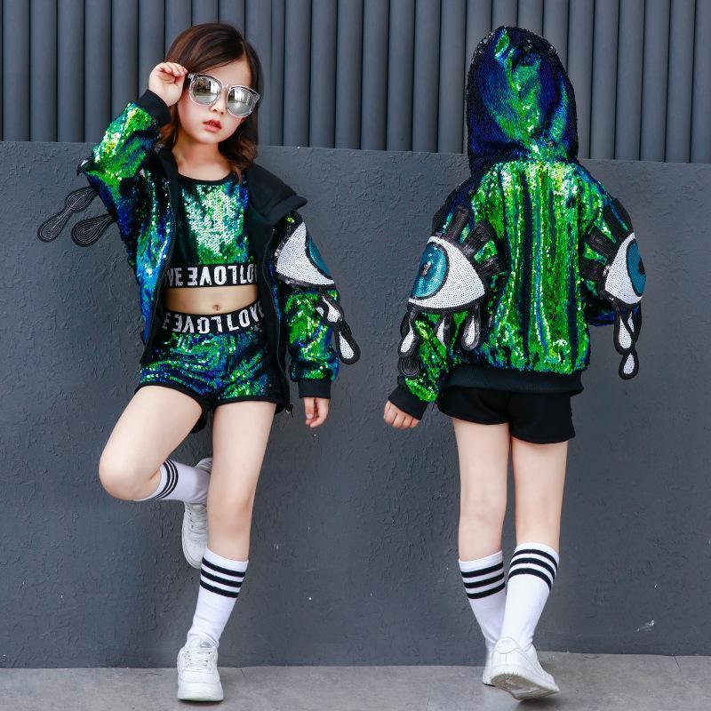d5591246f 2019 Sequin Kids Ballroom Dance Costume Crop Top Dancing Short Pant ...
