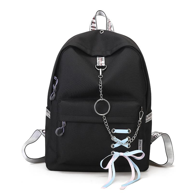 f39e2ec5d3fe Waterproof Nylon Women Backpacks For Teenage Girls Travel Shopping Rucksack  Fashion Ribbon Chains School Bags Student Backpack Laptop Backpacks Travel  ...