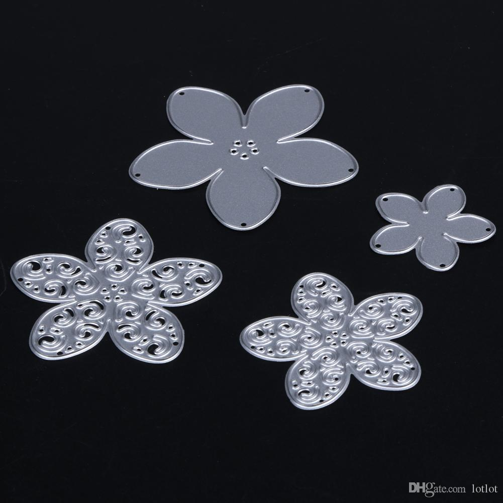 4 шт. резки умирает металлический цветок трафареты для DIY скрапбукинга умирает фотоальбом ручной CraftCuttingE5M1