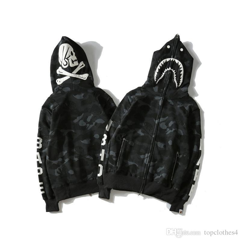 2504fb37b7 Commercio all ingrosso di alta qualità Street wave marca testa di squalo  Skull Skeleton vestiti scuri da uomo nero casual wear Mens Women Shark ...