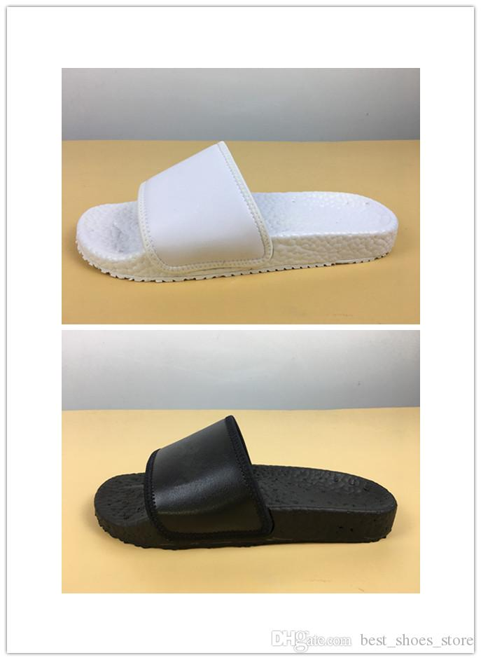 97e08a0dee64 High Quality New Black Rubber Slippers Wholesale White Rubber Leather Slip  On Sandals Fashion Men Women Summer Slipper With Box Size 5 10 Italian  Shoes Mid ...