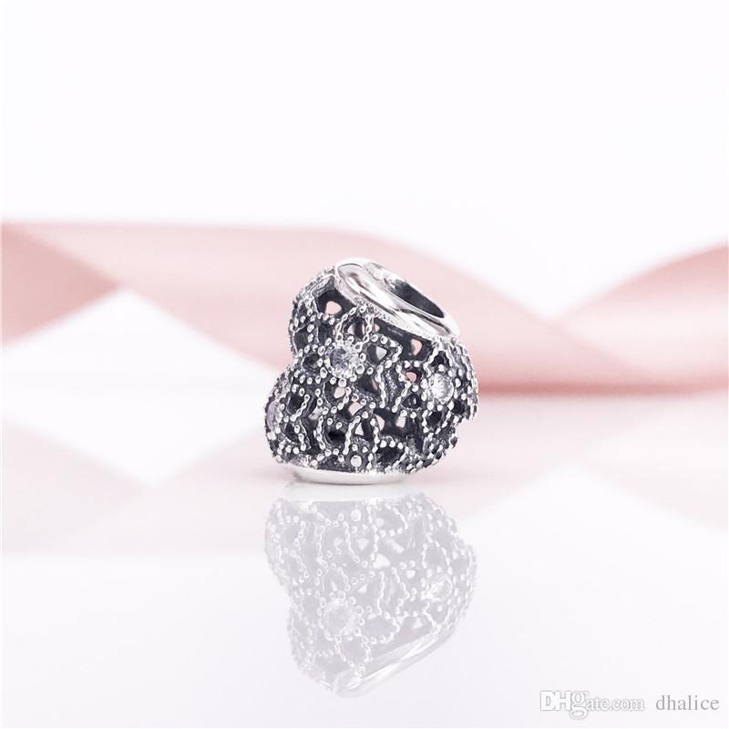 Çiçeklenme Kalp Charm Temizle CZ Gümüş Charm Fit Ile Avrupa Marka Yılan Nracelet Kolye 796264CZ charm
