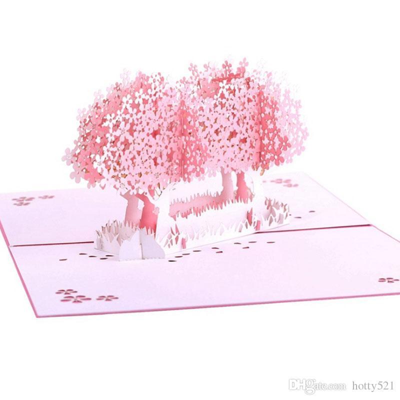 New Laser Cut Wedding Invitations 3D Love Sakura Custom Postcard ValentineS Day Greeting Cards Free Greetings Happy Birthday Card From Hotty521