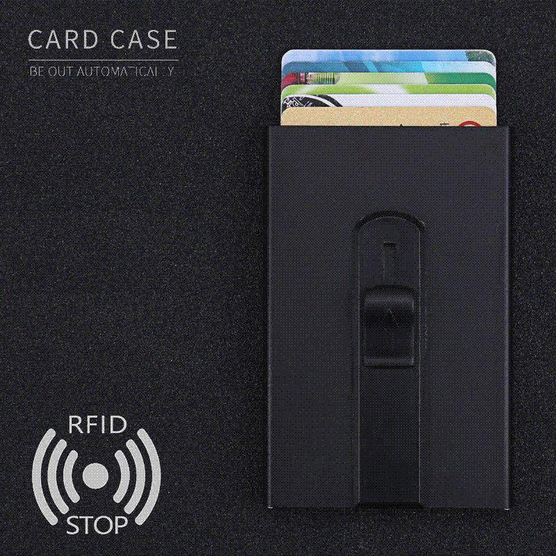 2a97eb84b60e Slim RFID Blocking Front Pocket Wallet Metal Bank Card Case Credit Card  Holder Mens & Womens Minimalist Wallet Design
