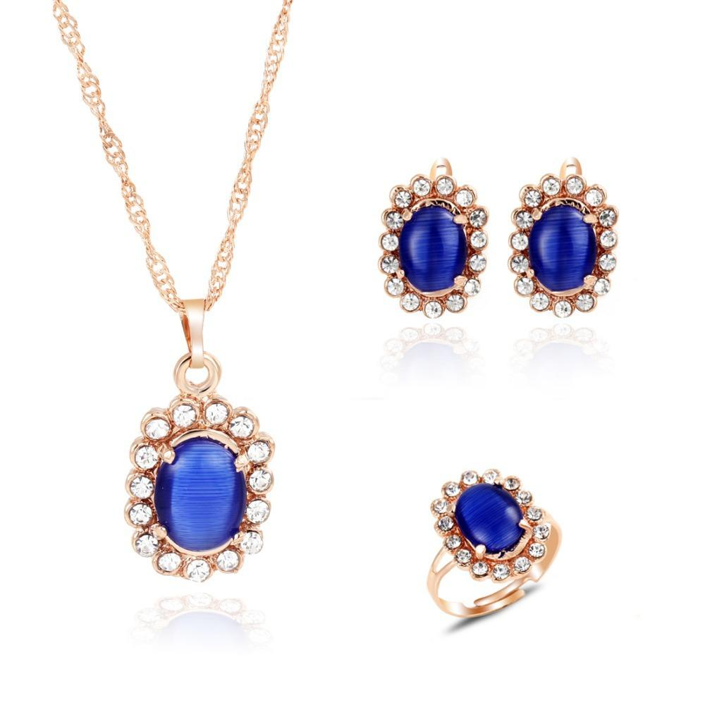 Romantic New Design Rhinestone Oval Earrings Necklace Ring Golden Color Jewelry Set Wholesale Price