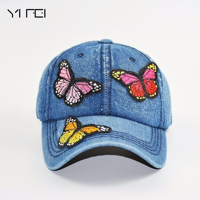 43b34d6364675 Satın Al Kelebekler 3D Işlemeli Beyzbol Kapaklar 2018 Yeni Yüksek Kaliteli  Yıkama Kovboy Beyzbol Şapkası Kadın Moda Yaz Sonbahar Şapka Kap, $28.49    DHgate.