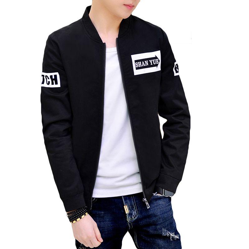 0c4fa8f6cf0 Black White Bomber Jacket Coat Men Fashion Spring Cotton Mens Jackets And  Coats Pilot Style Slim Fit Male Jacket Windbreaker 3XL D18101106 Hooded  Jackets ...