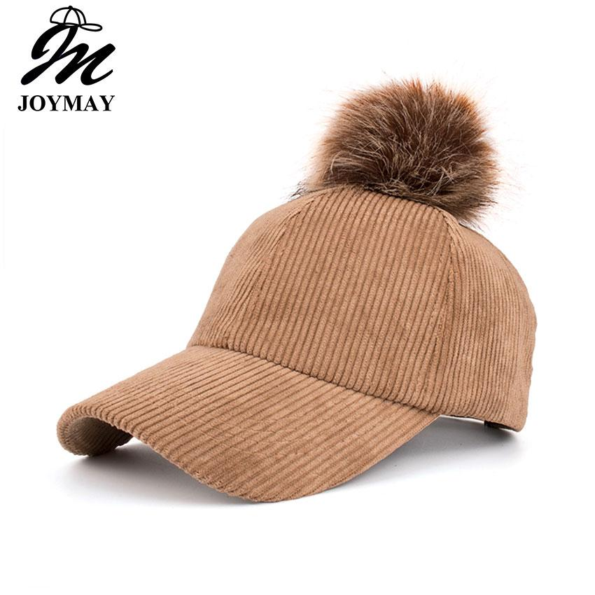 Joymay Brand Winter Hats For Women New Fashional Faux Fur Pompom Corduroy Hat  High Quality Snapback Baseball Cap B473 Caps For Men Custom Baseball Hats  From ... ec95fbc102f0