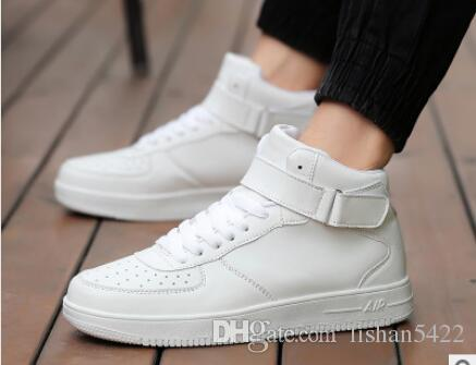 Spring Hot New Leather Casual Shoes High Top Flat White Black Lace