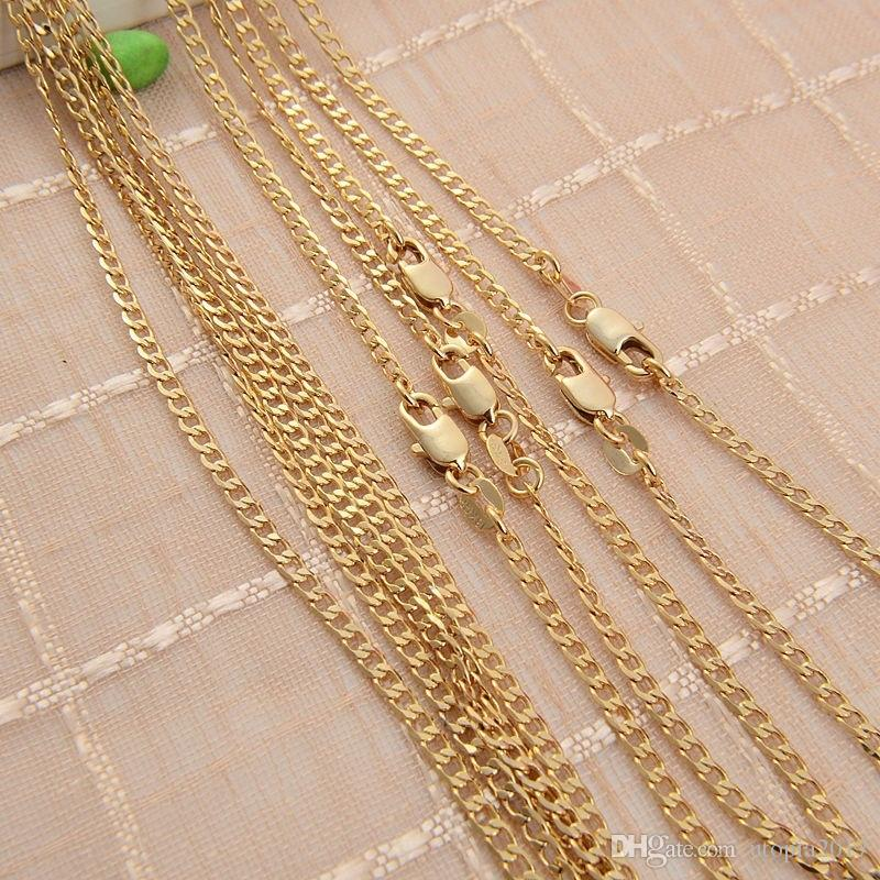 2MM 1:1 Figaro Chain Necklace 18k Gold Plated Sterling Silver Plated Sparkling Jewelry Chians 18 20 22 24 Inches
