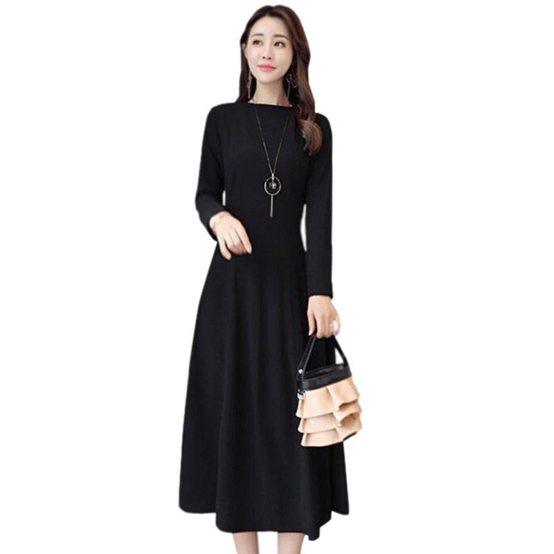 c317e88a5a073 Women O Neck Solid Color Dress Fashion Elegant Long Sleeve Midi Dress  Autumn Winter Casual Slim Dresses 2018 New Arrival
