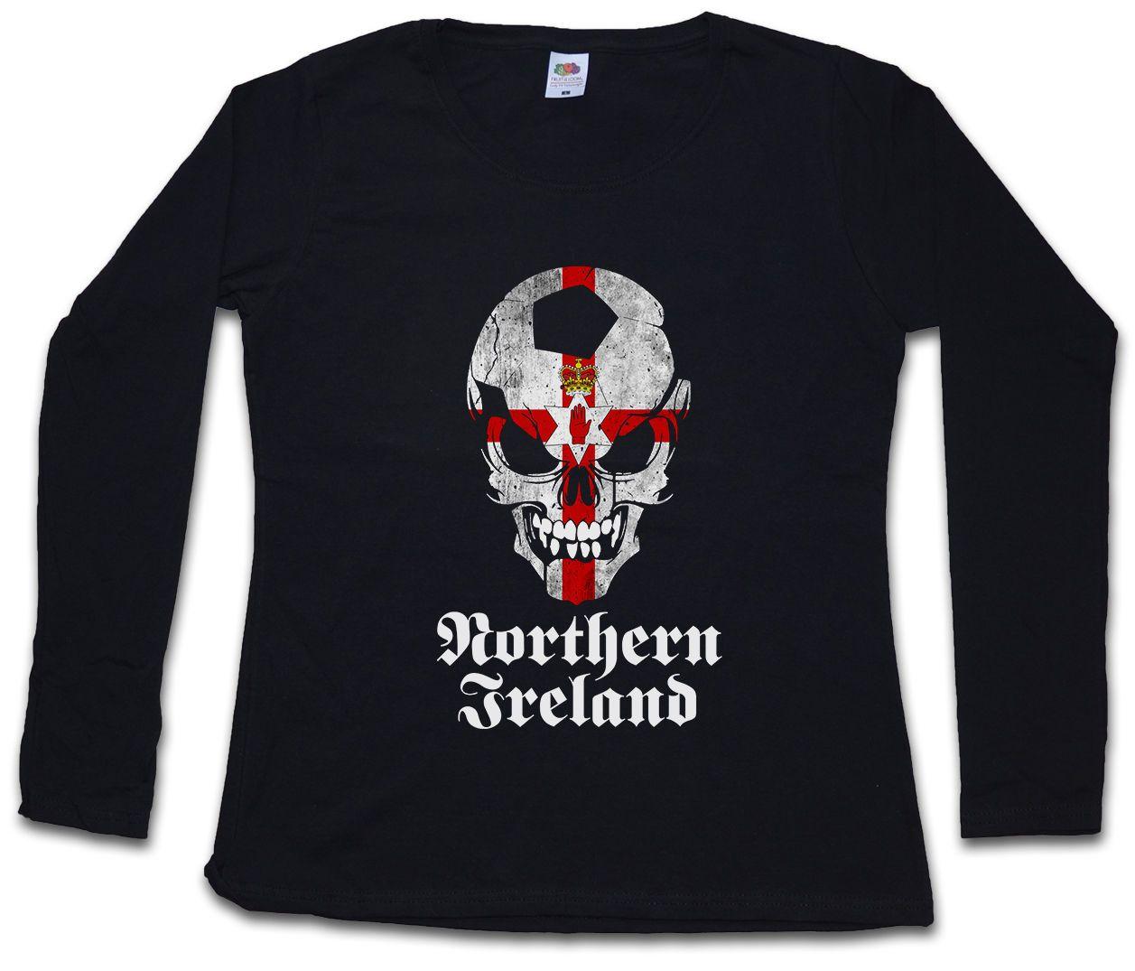 d0c96e5993b1c1 BLACK CLASSIC NORTHERN IRELAND FOOTBALL SKULL FLAG DAMEN LANGARM T SHIRT  Irland Humor T Shirt Funny Ts From Banwanyue10