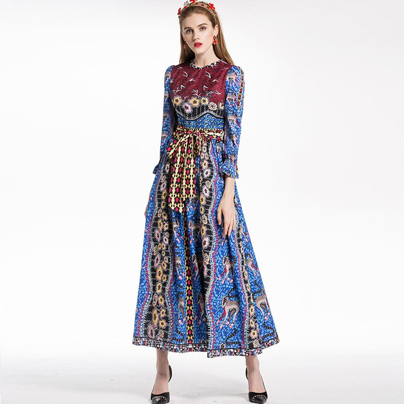 2019 New Arrival 2018 Women S O Neck Long Sleeves Leopard Floral Printed  Designer Dresses Fashion Casual Long Dresses From Xbeauty d4a8def04