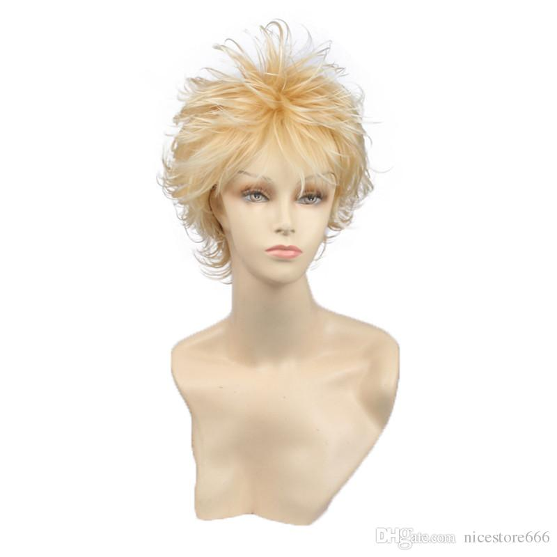 New Hair Style Short Blonde Wig Pixie Cut Synthetic Women Or Men Wig