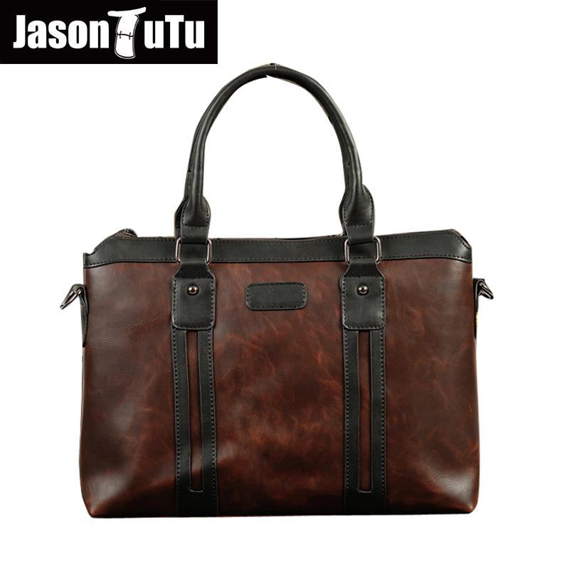 ebe2e50fa4 JASON TUTU Vintage Men Handbag Business Laptop Bag 2016 New Men Travel  Shoulder Bag Male Portfolio PU Leather Messenger B147 Womens Bags Black Handbag  From ...