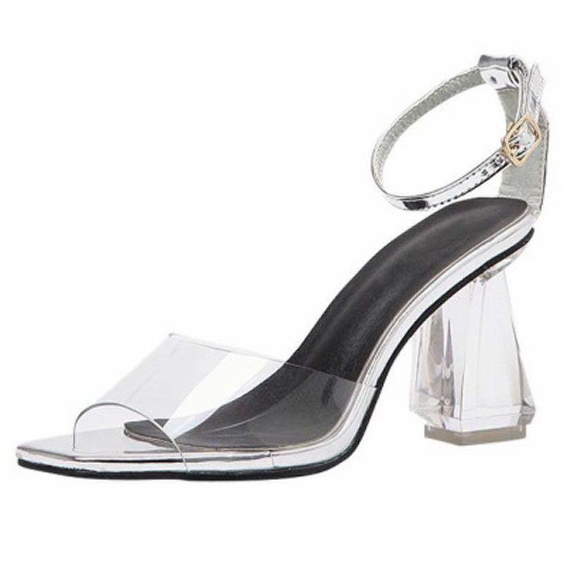 e00039b804f 2018 Summer Europe America Clear Crystal Heel Open Toe Chunky Heel High  Heel Sexy Female Sandals White Sandals Wedge Heels From Meyi