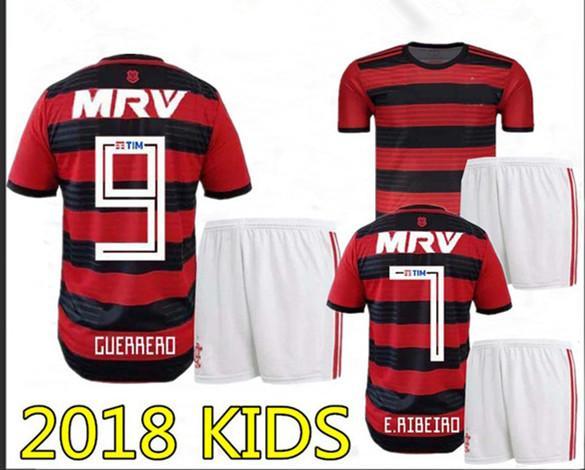 2a36dbddd41 Compre Perfeito 2018 CR Flamengo Casa Crianças Camisas De Futebol Menino  Camisas De Futebol Shorts Criança Futebol Uniformes Personalizar Nome  Número Diego ...
