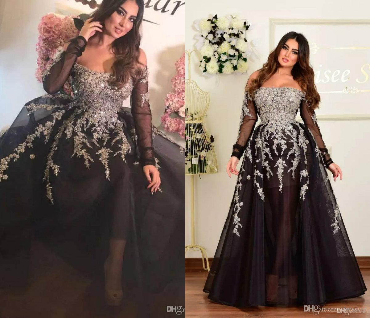 57b9209151382 2018 Off The Shoulder A Line Long Evening Dresses Tulle Appliques Beaded  Custom Made Formal Evening Gowns Long Sleeve Prom Party Dresses Unique  Evening ...