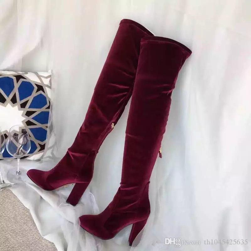 Wine Red Black Blue Velvet Women Over Knee High Boots Autumn Winter Ladies Runway Long Boots Motorcycle Shoes Female Martin Boots Mujers