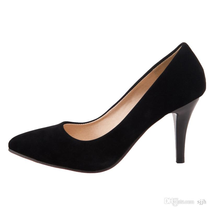 SJJH 2018 Woman Pumps with Pointed Toe and Stiletto Heel Elegant Working Shoes for Fashion Women with Large Size Available A126