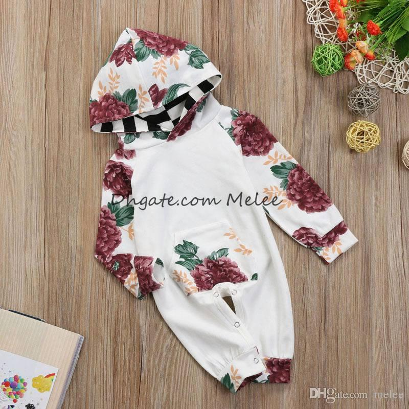 ins bambini primaverili floreali stampa piena con cappuccio pagliaccetti infantile fiore di cotone stampa Tute pagliaccetti neonato bambino 0-2 anni libera la nave