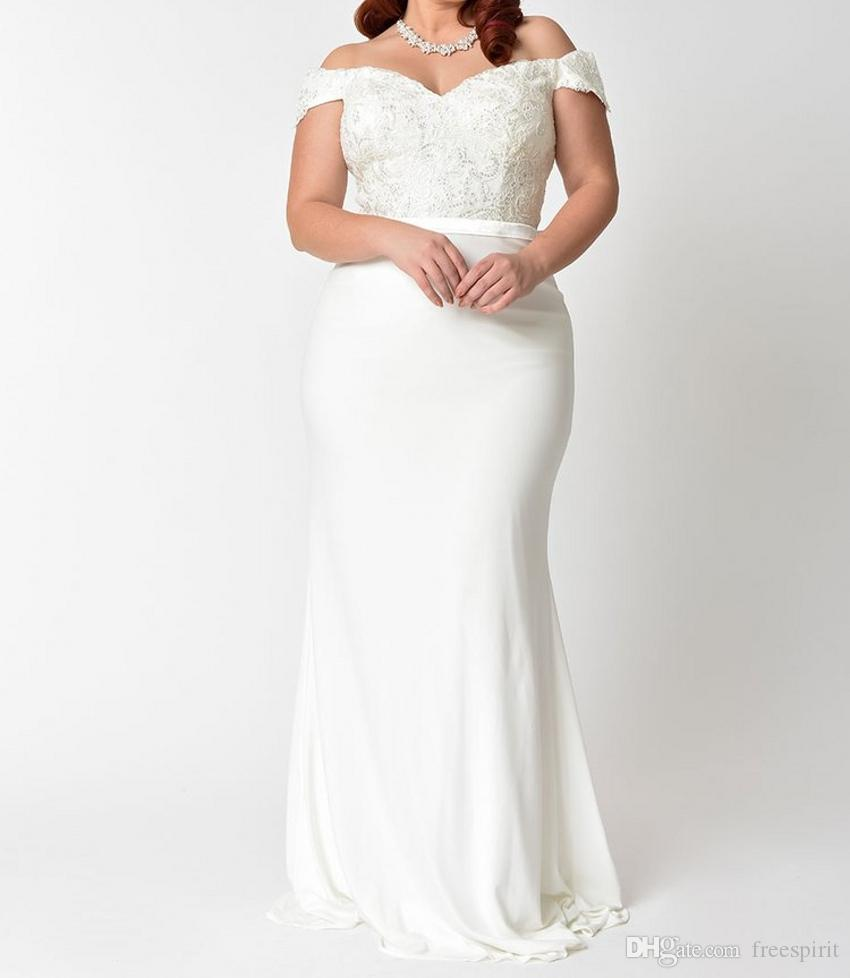 Plus Size Mermaid Lace Wedding Dress Off The Shoulder High Waist ...
