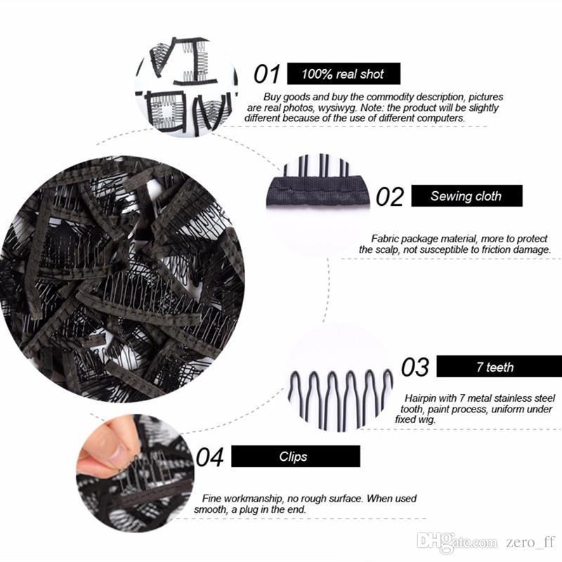 perruque clips perruque peignes clips 7teeth pour cap et perruque faisant peignes extensions de cheveux outils