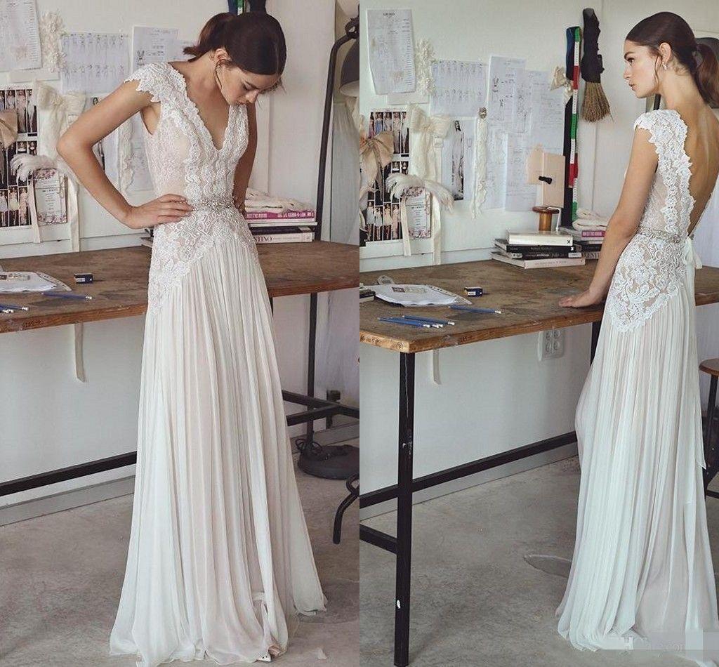Discount 2018 Simple A Line Wedding Dresses Lace Beaded V Neck Cap ...