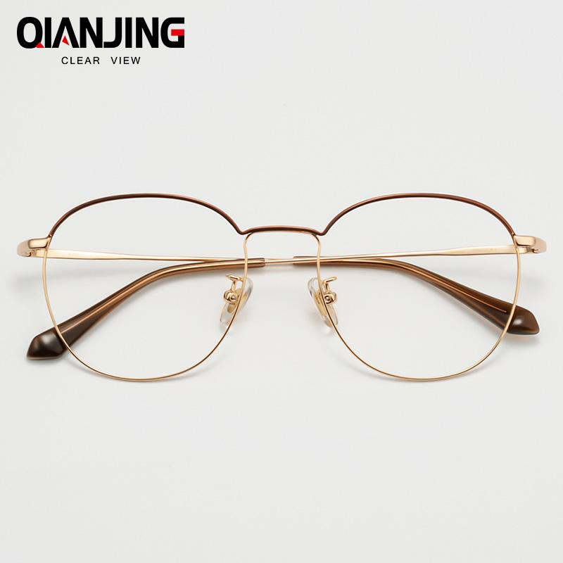 QianJin Pure Titanium Spectacle Frame Women Vintage Eyeglasses Men Computer Optical Retro Eye Glasses For Female Male Clear Lens