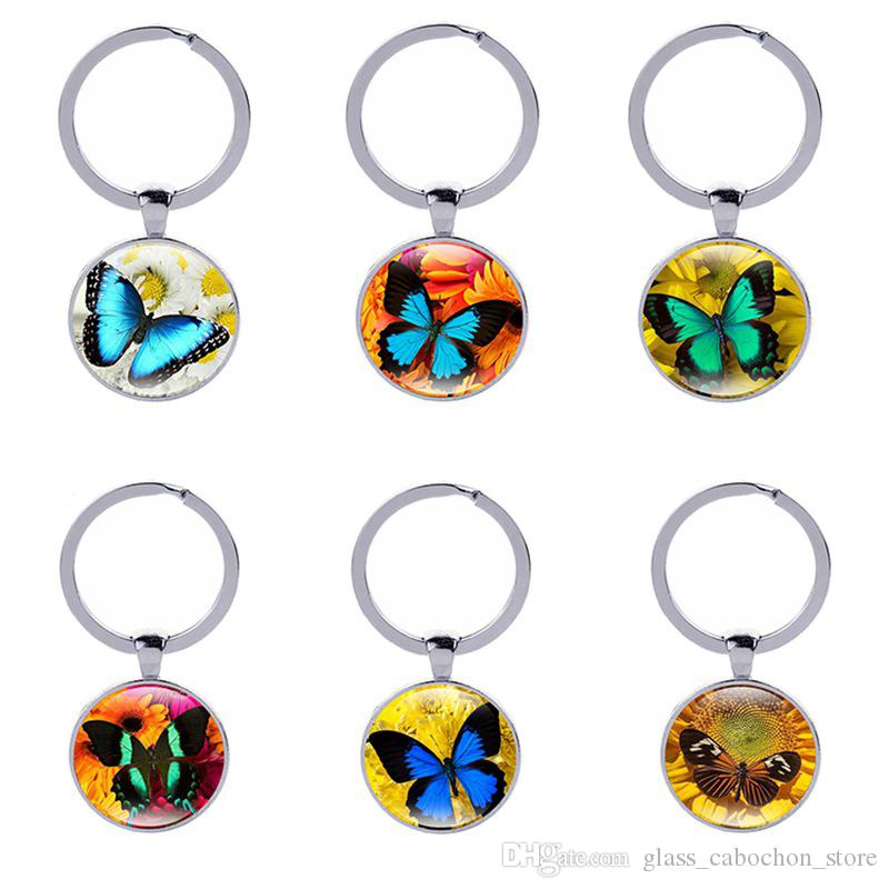 2019 Butterflys Keychain Animal Keyring Time Gems Vintage Antique Bronze  Car Key Accessories Women Gift Classic Jewelry From Glass cabochon store 56dff798c