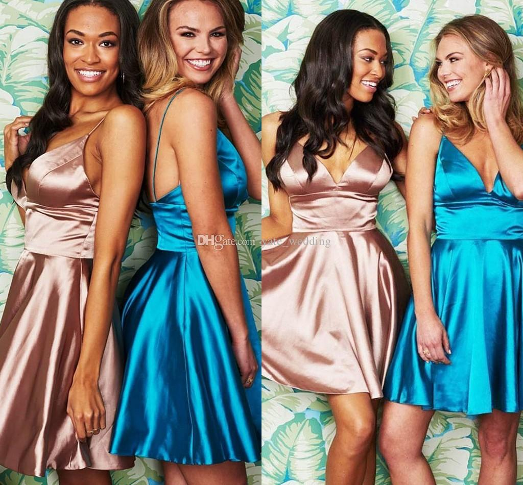 14e0ee50fe Sexy Short Homecoming Dresses Deep V Neck Spaghetti Straps Empire Satin  Backless Summer Party Dresses Cheap Prom Dresses Plus Size Homecoming Dress  ...