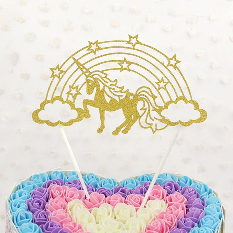 2019 Retail Fashion Rainbow Star Unicorn Horn Paper Cake Toppers For