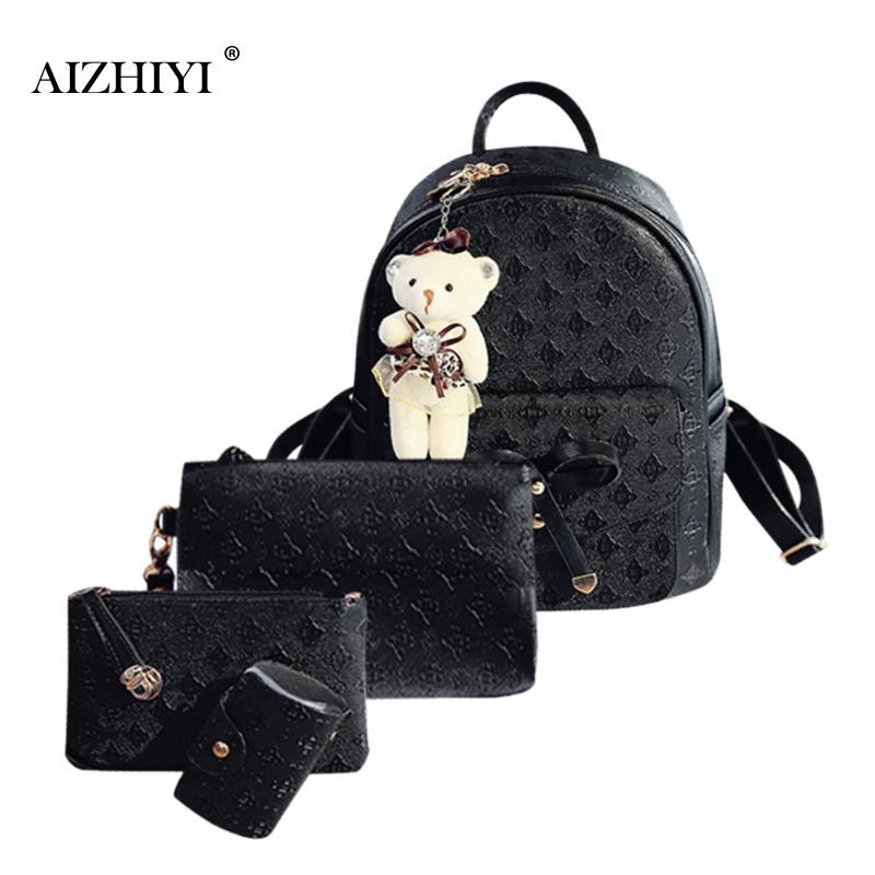 Women Fashion Backpack Composite Bags Set PU Leather Backpack School ... 0170f65a214cb