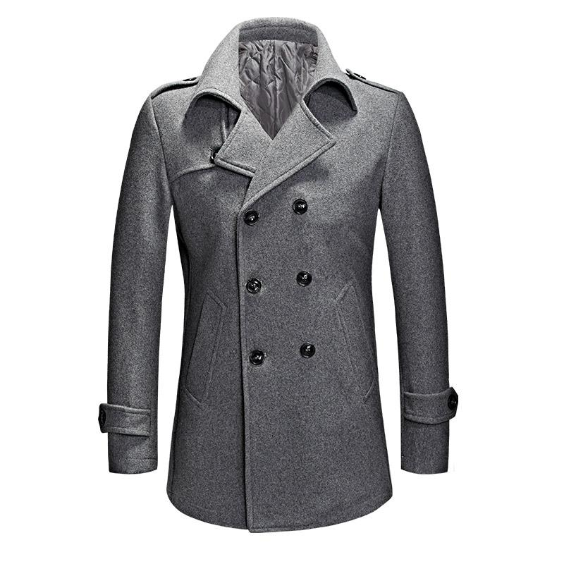 0499fd3c753 2019 High Quality Winter Grey Wool Coat Men Double Breasted Thick And Warm  Casual Overcoat Male Short Trench Coat Plus Size M XXXL From Baiqian
