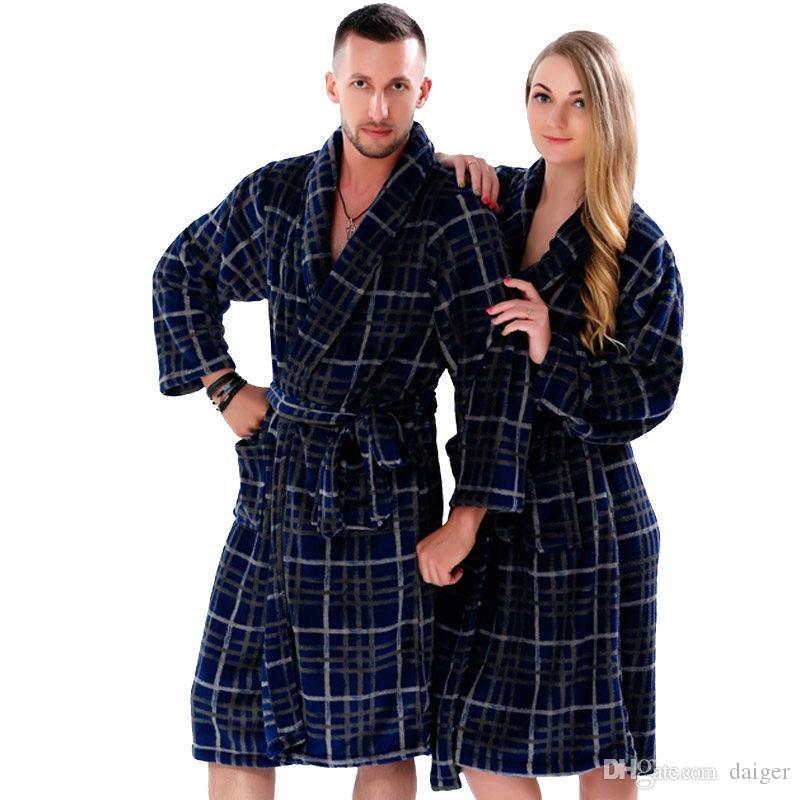 88f02218e7 Wholesale- New Couples Coral Fleece Bath Robe Navy Plaid Nightgown ...