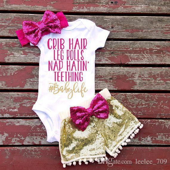 Bebek kız INS harfler rompers takım 7 Stil Çocuk Kısa kollu üçgen tulum + madeni pul şort + ilmek Saç bandı 3 adet setleri giysi