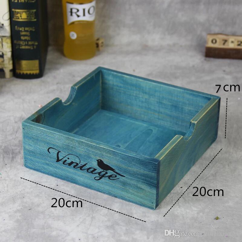 Vaso da fiori piante vaso in vaso da tavolo quadrato retrò in legno di archiviazione