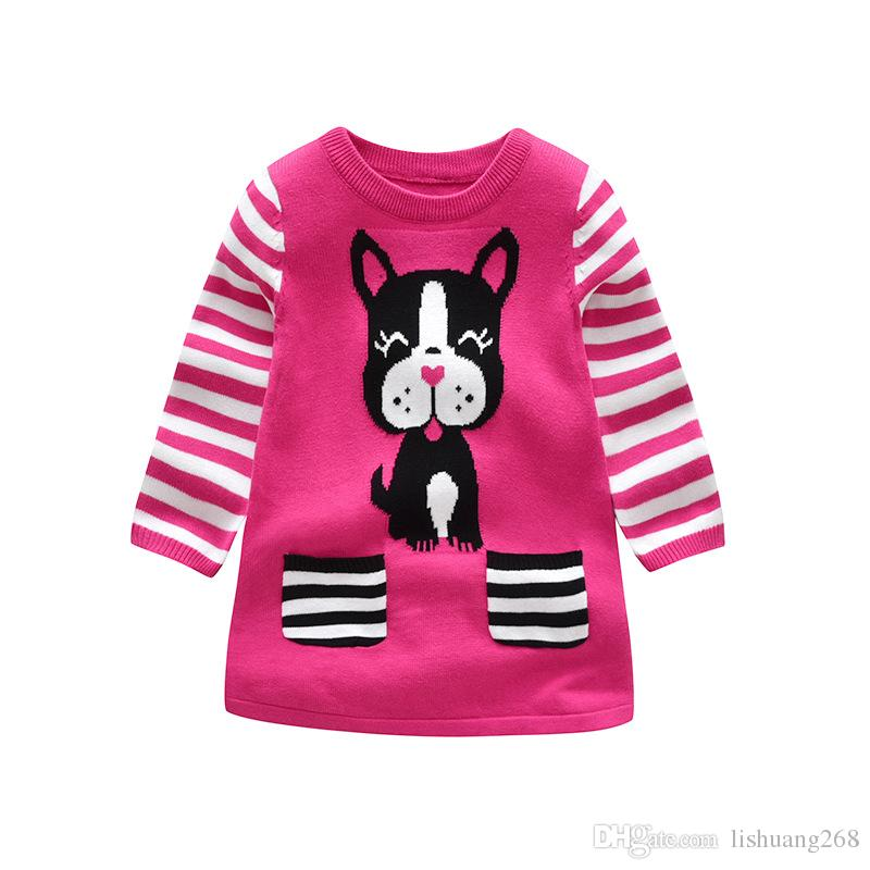 54026c760366 2018 Autumn Winter Girls Sweater Dress Cartoon Dog Kids Baby Sweater ...