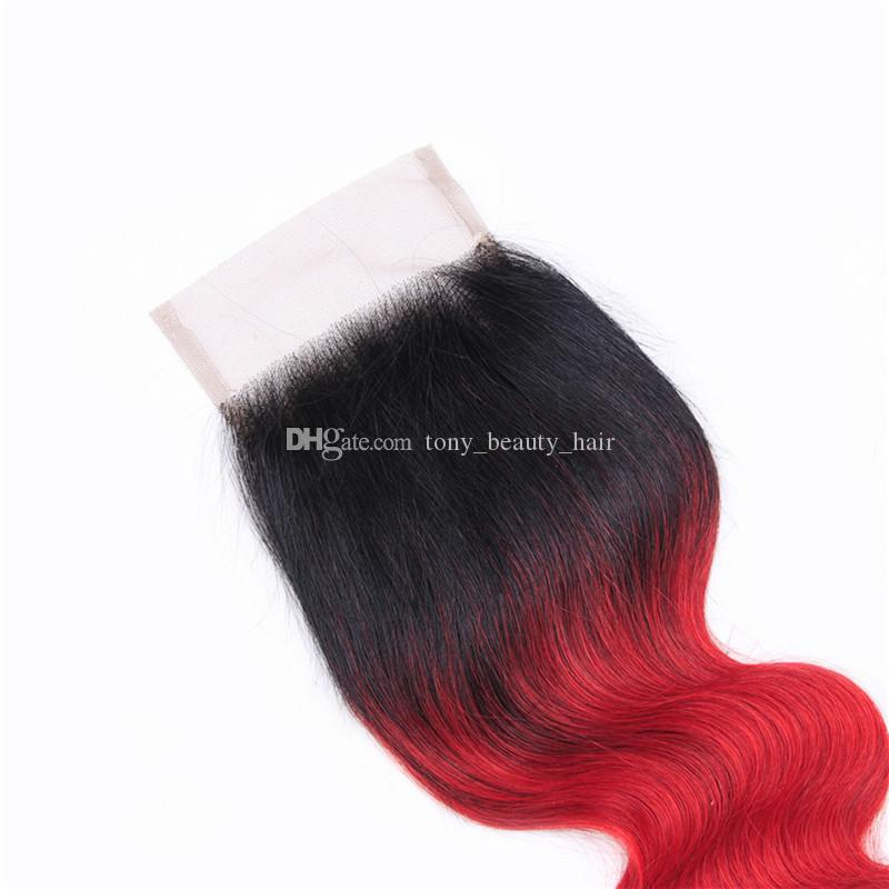 Two Tone 1B Red Dark Root Ombre Body Wave Virgin Human Hair 3 Bundles With Free Parting 4x4 Lace Top Closure
