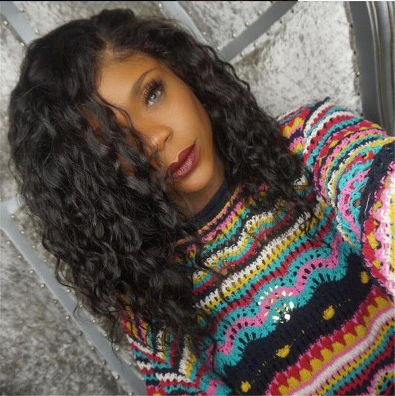Pérou pas cher Vague Vierge cheveux Top en soie de dentelle perruque couleur naturelle Glueless Base de dentelle de soie perruque d'avant pour les femmes noires