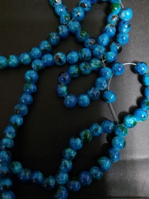Mais recente projetado cerca de 100 pçs / lote 8mm contas de vidro azul para fazer jóias DIY contas