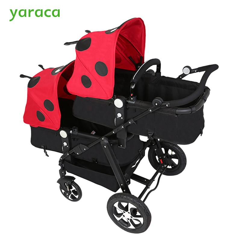 Twins Stroller For Newborns Baby Carriage For Twins Prams Cute Panda Paern Baby Stroller Lightweight Double Strollers