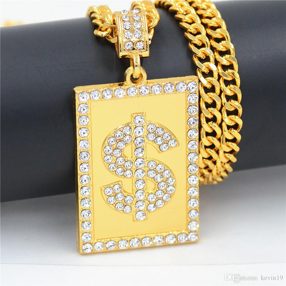 US Dollar Money Necklace & Pendant Crystal Gold Color Chain For Women/Men Rhinestone Hip Hop Bling Jewelry