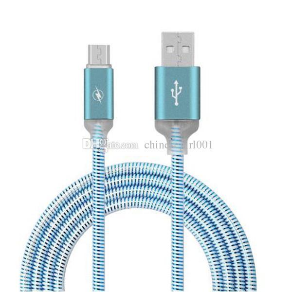 1m Aleación de aluminio Led luz Micro Usb Data Charger Cable para Samsung Galaxy s6 s7 edge teléfono htc lg 5 6 6s 7