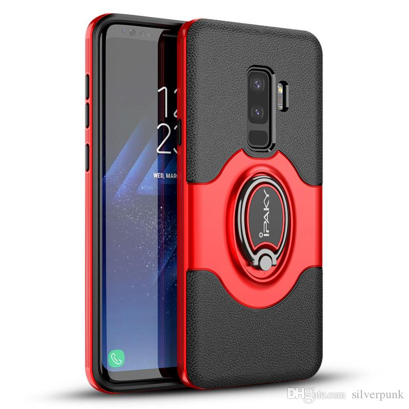 brand new 6b10e 89211 iPaky Case For Samsung Galaxy S9 Plus Ring Stand Holder Magnetic function  Back Cover PC+TPU Drop-proof SM S9+ Cases With Package In Stock
