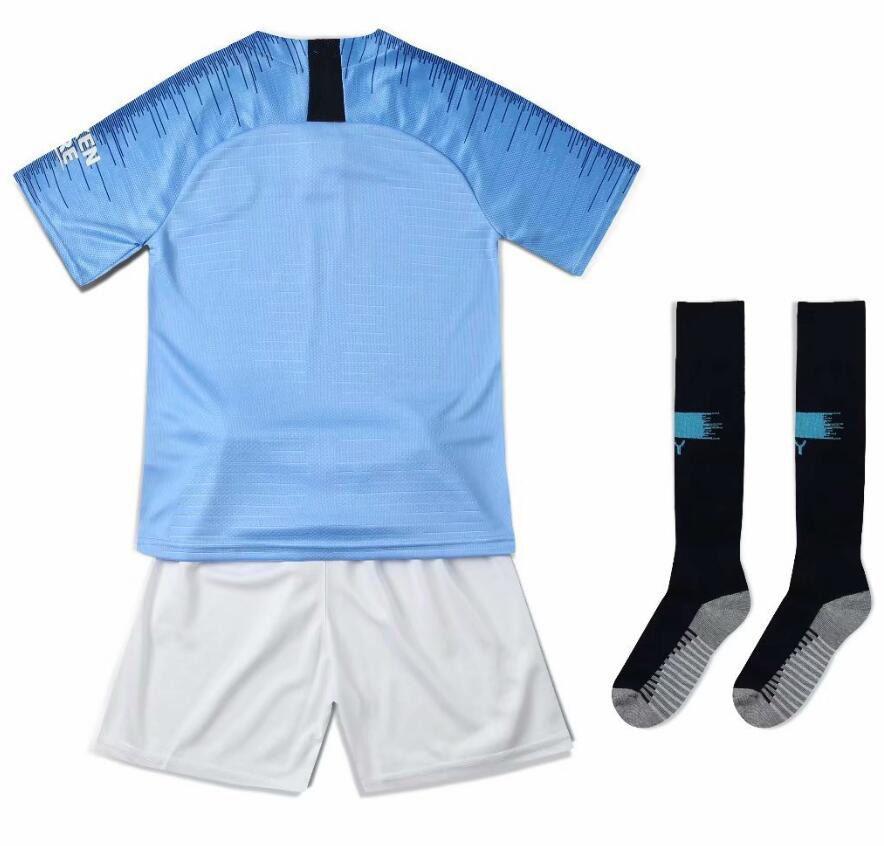 2019 Manchester City G.JESUS KUN AGUERO SANE Kids Soccer Jerseys STERLING  DE BRUYNE Custom Boys And Girls Football Shirt + Football Socks Soccer  Jerseys ... 289ba6006